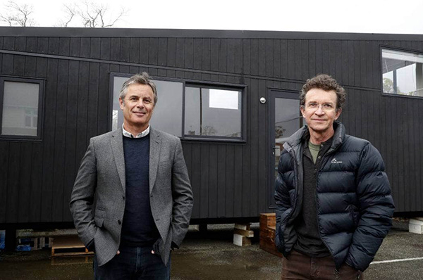 Nelson City Councillor Matt Lawrey, left, and Architect Peter Olorenshaw at the site of a tiny house